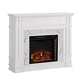 Southern Enterprises© Highgate Faux Stone Media Stand Electric Fireplace in White