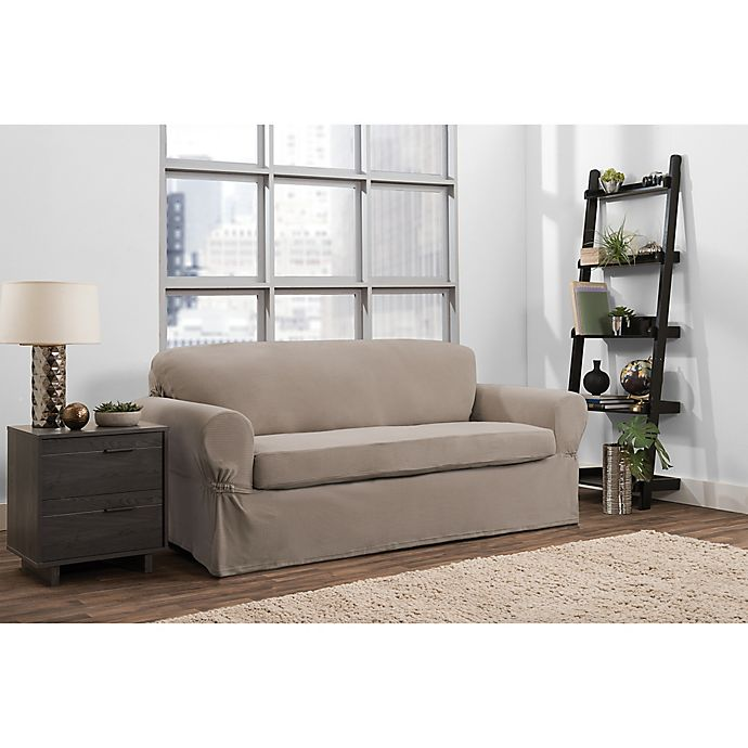 Alternate image 1 for Smart Fit Portland 2-Piece Stretch Sofa Slipcover in Taupe