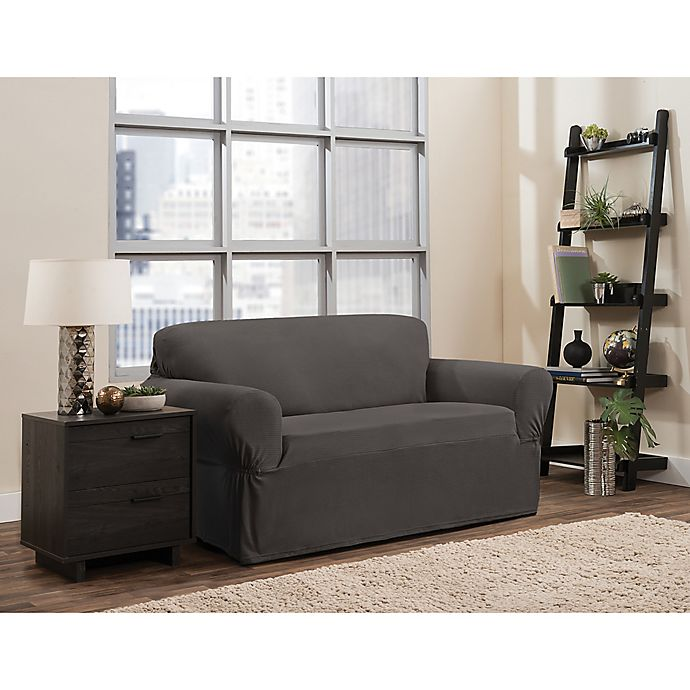 Swell Smart Fit Portland Stretch Slipcover In Taupe Bed Bath Beatyapartments Chair Design Images Beatyapartmentscom