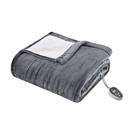 True North by Sleep Philosophy Ultra Soft Heated Queen Blanket in Grey
