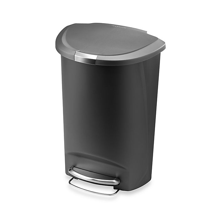 Alternate image 1 for simplehuman® Plastic Semi-Round 50-Liter Step-On Trash Can in Grey