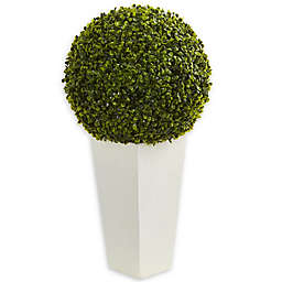 Nearly Natural 15-Inch Artificial Boxwood Topiary Ball in Green with White Clay Container