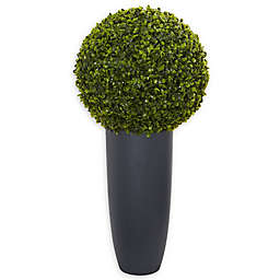 Nearly Natural 15-Inch Artificial Boxwood Topiary Ball in Green with Charcoal Clay Container