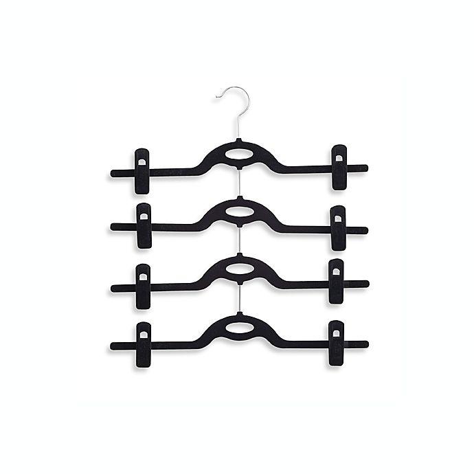Alternate image 1 for Real Simple® 4-Tier Attachable Skirt Hanger in Black