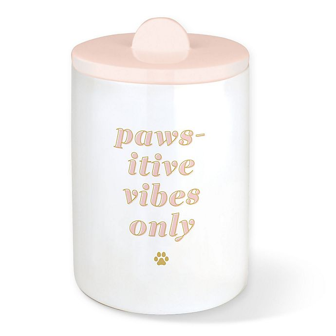 Alternate image 1 for Fringe Studio™ Pawsitive Vibes Ceramic Canister in Blush Marble