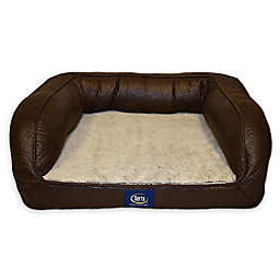Serta Faux Leather Petite Ortho Couch Pet Bed in Brown