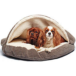 Precious Tails 35-Inch Pet Cave Bed in Coffee Corduroy