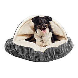 Precious Tails 35-Inch Pet Cave Bed in Grey Corduroy