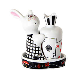 Multiple Choice Bunny in Wonderland 3-Piece Salt & Pepper Tray Set
