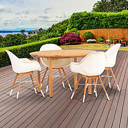 Amazonia Charlotte 5-Piece Round Outdoor Dining Set in Brown/White