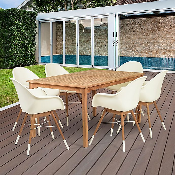 Alternate image 1 for Amazonia Charlotte 7-Piece Outdoor Dining Set in Brown/White