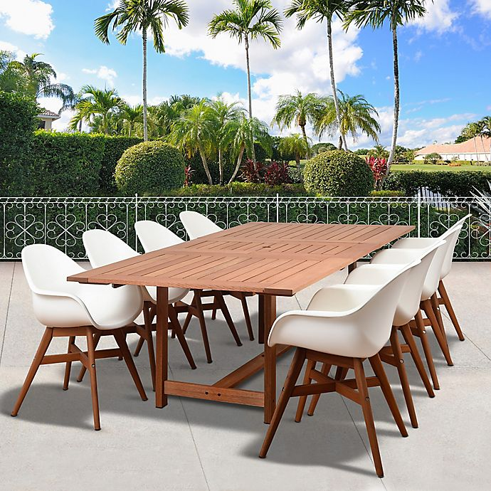Alternate image 1 for Amazonia Charlotte 9-Piece Extendable Outdoor Dining Set in Dark Brown/White