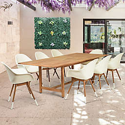 Amazonia Charlotte 9-Piece Extendable Outdoor Dining Set in Brown/White