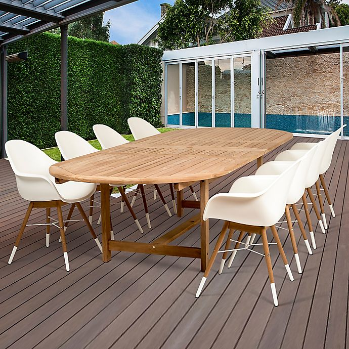 Alternate image 1 for Amazonia Charlotte 9-Piece Extendable Outdoor Dining Set in Brown/White
