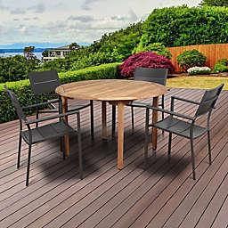 Atlantic Koningsdam 5-Piece Outdoor Dining Set in Brown/Grey