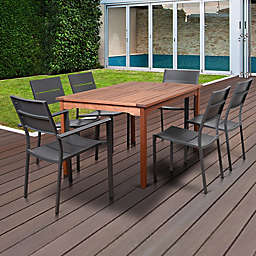 Atlantic Koningsdam 7-Piece Outdoor Dining Set in Brown/Grey