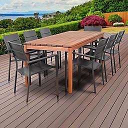Atlantic Koningsdam 9-Piece Outdoor Dining Set in Brown/Grey