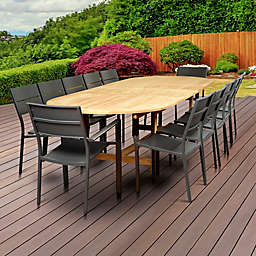 Atlantic Koningsdam 13-Piece Double-Extendable Oval Outdoor Dining Set in Brown/Grey