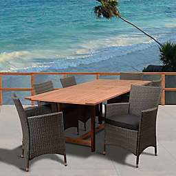 Amazonia Damian 7-Piece Extendable Outdoor Dining Set with Cushions in Brown/Grey