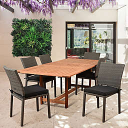 Amazonia Damian 7-Piece Extendable Outdoor Dining Set with Cushions in Natural/Grey