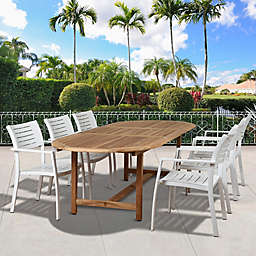 Amazonia Noordam 7-Piece Extendable Oval Outdoor Dining Set in Brown/Grey
