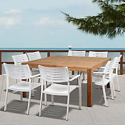 Amazonia Noordam 9-Piece Outdoor Dining Set in Brown/Grey