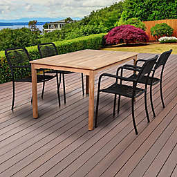 Amazonia Oosterdam 5-Piece Outdoor Dining Set in Brown/Black