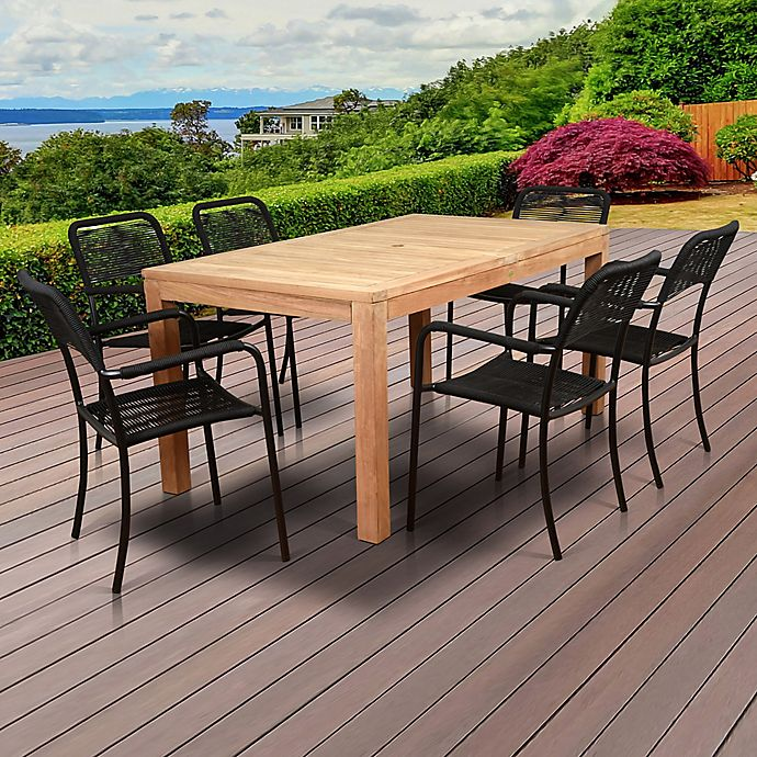 Alternate image 1 for Amazonia Oosterdam 7-Piece Outdoor Dining Set in Natural Brown/Black