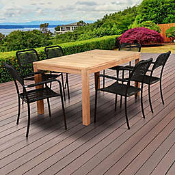 Amazonia Oosterdam 7-Piece Outdoor Dining Set in Natural Brown/Black