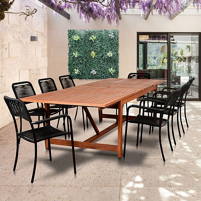 Alternate image 1 for Amazonia Oosterdam 9-Piece Double-Extendable Outdoor Dining Set in Golden Brown/Black
