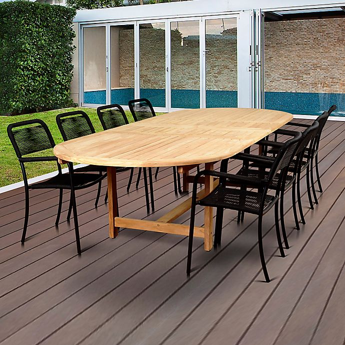 Alternate image 1 for Amazonia Oosterdam 9-Piece Double-Extendable Outdoor Dining Set in Brown/Black