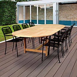 Amazonia Oosterdam 9-Piece Double-Extendable Outdoor Dining Set in Brown/Black