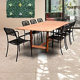Amazonia Oosterdam 9-Piece Extendable Outdoor Dining Set in Brown/Black