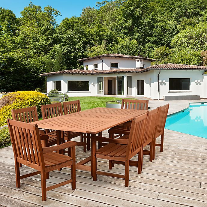 Alternate image 1 for Amazonia Bristol 9-Piece Extendable Outdoor Dining Set in Brown
