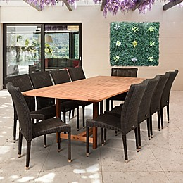 Amazonia Catania 11-Piece Extendable Outdoor Dining Set in Brown/Grey