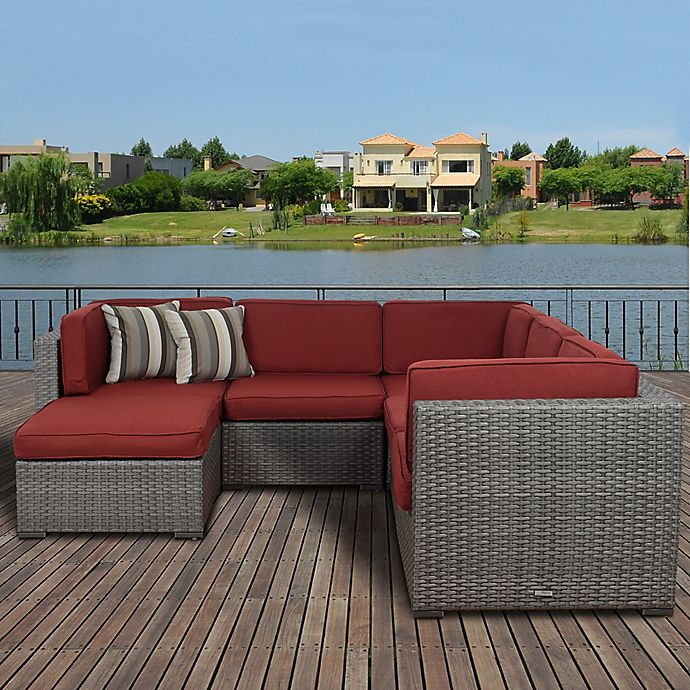 Alternate image 1 for Atlantic Bellagio 6-Piece Outdoor Wicker Sectional with Burgundy Cushions in Brown
