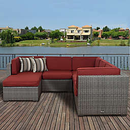 Atlantic Bellagio 6-Piece Outdoor Wicker Sectional with Burgundy Cushions in Brown