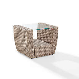 Crosley St. Augustine Resin Wicker Side Table in Weathered White