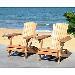 Safavieh Breetel Adirondack Chairs in Teak (Set of 2)