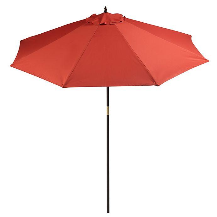 9 Foot Round Hardwood Patio Umbrella In Salsa Bed Bath