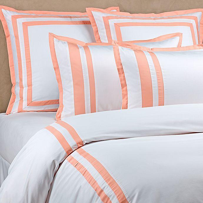Alternate image 1 for Wamsutta® Hotel Border MICRO COTTON® King Duvet Cover Set in White/Coral