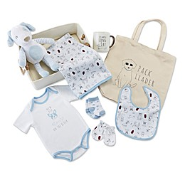 Baby Aspen Size 0-6M 9-Piece New Pup Gift Basket in Blue