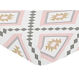 Sweet Jojo Designs Aztec Fitted Crib Sheet in Pink/Grey