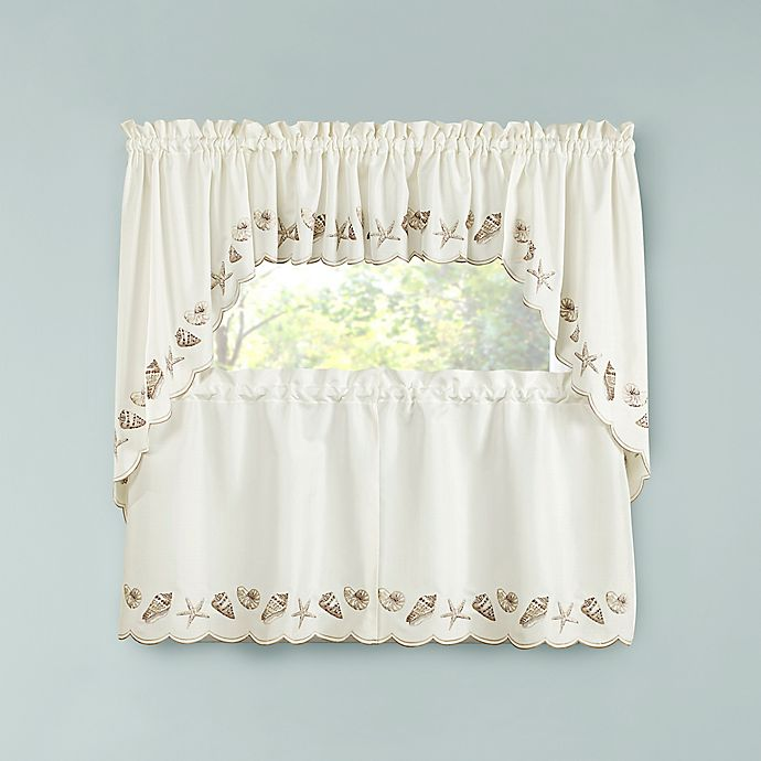 Seashells Kitchen Window Curtain Tiers, Valance And Swags