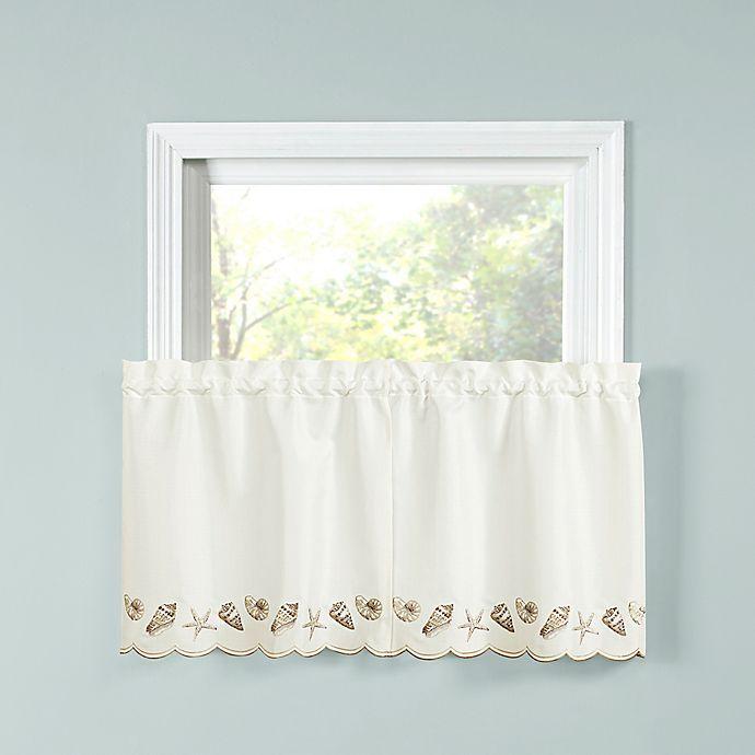 Seashells Kitchen Window Curtain Tier Pair