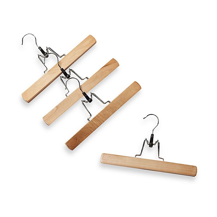 Alternate image 1 for Natural Wood 10.9-Inch Trouser Hangers with Clamps (Set of 4)
