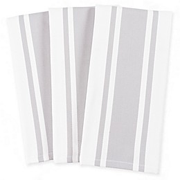 Heavyweight Cotton 3-Pack Striped Kitchen Towels in Silver