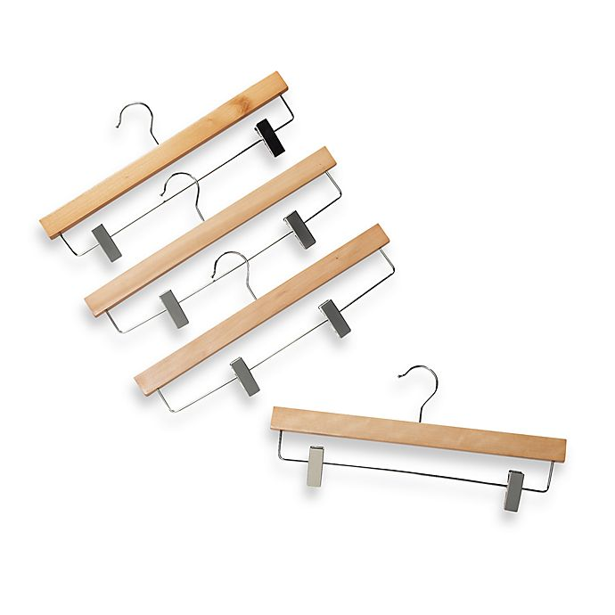 Alternate image 1 for Natural Wood 11-Inch Skirt Hangers with Clamps (Set of 4)