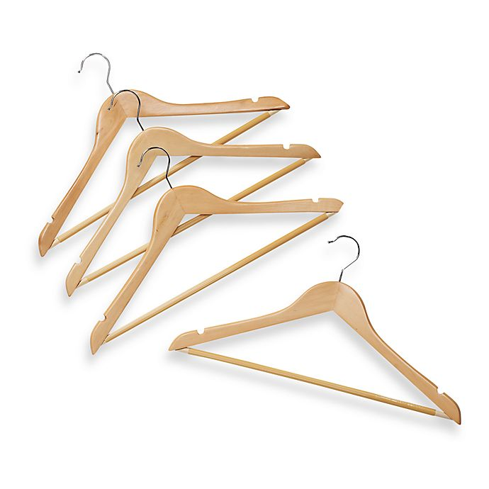 Alternate image 1 for Natural Wood 17-Inch Suit Hangers with Bar (Set of 4)