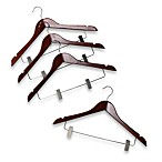 17-Inch Wood Suit Hangers with Clips in Brown (Set of 4)